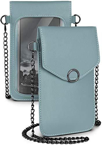 moex Handytasche zum Umhängen für alle HOMTOM Handys - Kleine Handtasche Damen mit separatem Handyfach & Sichtfenster - Crossbody Tasche, Hellblau