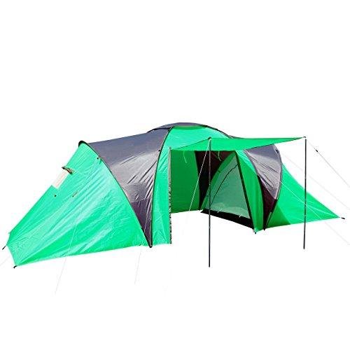 Campingzelt Loksa, 6-Mann Zelt Kuppelzelt Igluzelt Festival-Zelt, 6 Personen ~ grün