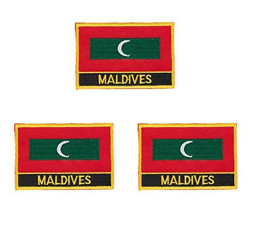 Malediven-Aufnäher, bestickt, mit Flaggen-Emblem, 3 Stück
