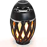 LED Flame Table Lamp, Ajxchen Outdoor Torch Atmosphere Bluetooth Speakers with Stereo Sound Exclusive Bass Up HD Audio Wireless Portable Table Lamp Night Light Speaker BT 5.0 for iPhone iPad Android