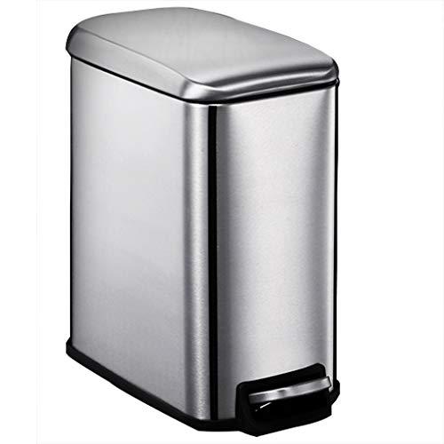 Cubo de basura de acero inoxidable Pedal de paso Cubo de basura Bote de basura pequeño con tapa Reciclador 5 litros / 1.1 galón Tapa suave y silenciosa Cierre de pañal Cocina de arco Baño de oficina