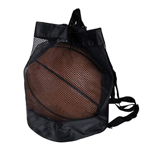 GOUPPER Trekkoord Rugzak voor Basketbal Voetbal Volleybal Lichtgewicht Mesh Ball Bag Houder Carrier Sport Packsack Gymbag Travel Schoenen Tas - Zwart