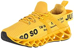 Rubber material of sole possesses high durability for prolonging the wearing time of our shoes. Breathable mesh upper sport shoes, expand with your foot when you run and they more comfortable closely fit to help you reduce irritation. Knit upper mate...