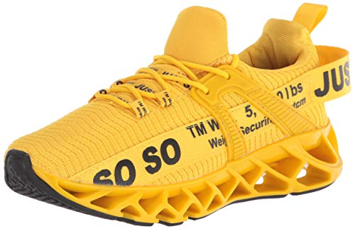 UMYOGO Womens Road Running Shoes Mesh Breathable Sneakers Lightweight Fashion Sports Gym Athletic Shoes Yellow