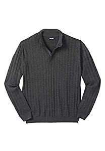 KingSize Men's Big & Tall 1/4 -Zip Mock Neck Lightweight Sweater, Heather Charcoal Big-7XL from KingSize