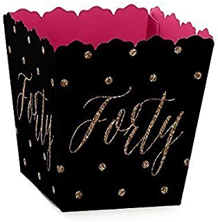 Chic 40th Birthday - Pink, Black and Gold - Party Mini Favor Boxes - Birthday Party Treat Candy Boxes - Set of 12