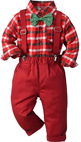 Cromoncent Toddler Boys Christmas Dress Suit, Baby Boys Gentleman Clothes Sets with Bow Tie Shirts + Suspenders Pants Plaid Red 12-18 Months