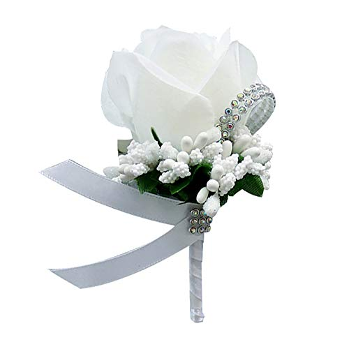 Bruiloft Bruids Groom Bling Strass Boutonniere Zijden Doek Rose Bloem Corsage - Licht Paars Kleur: wit