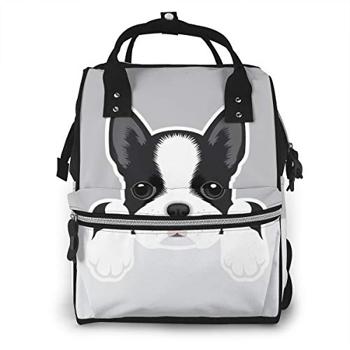 Boston Terrier Puppy Funny Pets Animals Baby Diaper Bag Backpack,Multi-Function Waterproof Large Capacity Travel Nappy Bags For Mom