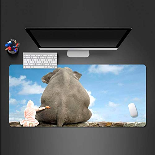 Grappige olifant en jongen muismat voor game Player'S game pad computer kantoor toetsenbord ultradun slot bijzettafel matten 400 * 900 * 3 mm