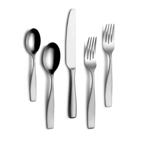 Mikasa Satin Loft 75-Piece 18/10 Stainless Steel Flatware Set with Serving Utensil Set, Service for...