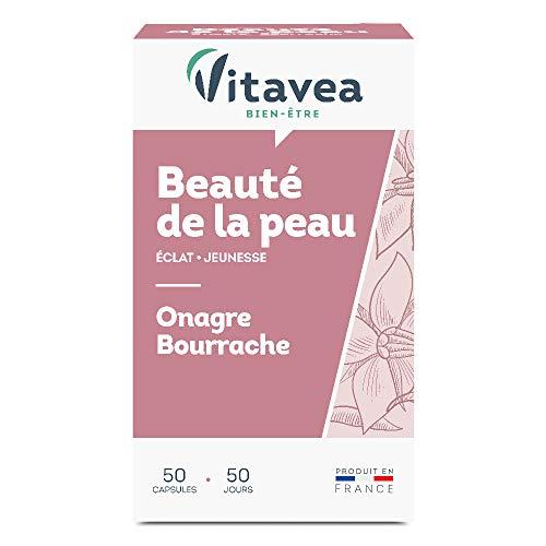 Vitavea - Complément alimentaire Beauté de la peau - éclat jeunesse - Onagre Bourrache - 50 capsules - fabriqué en France