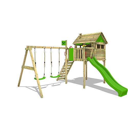 FATMOOSE Parque infantil de madera FunFactory Fit XXL con columpio y tobogán, Casa sobre pilares de exterior con escalera para niños