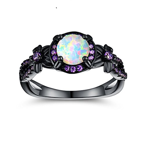 OPALTOP Black Gun Plated 6.5MM Round White Opal Created Amethyst Ring Band (7)