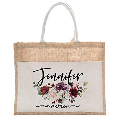 Personalized Luxury Totebag Cusomized Floral Cotton Canvas Tote Bag For Bachelorette Party Beach Workout Yoga Pilates Vacation Bridesmaid and Daily Use Totes DSG #6