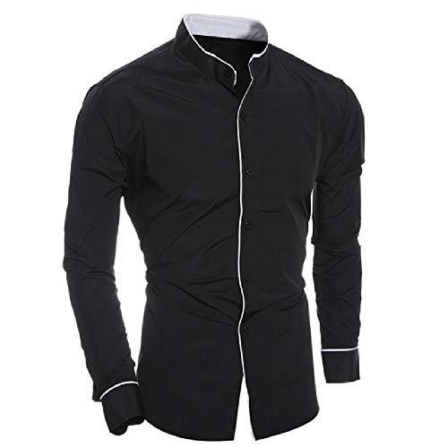 Herrenhemd Herren Persönlichkeit Tops Freizeithemden Schlankes Langarmhemd Herren Solid Shirts Top Bluse