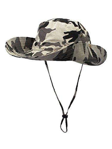 WANYING Damen Herren Outdoor Sonnenschutz Bucket Hut Fischerhut Baumwolle Two Way to Wear für Kopfumfang 55-62 cm Khaki Camouflage