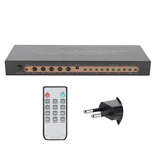 Socobeta HDMI Converter Audio Extractor Hdmi Switcher para BLU-Ray DVD para TV para Consola de Juegos(Enchufe de la UE)