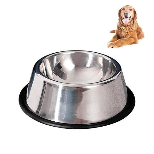 SUOXU Dog Bowls, Upgrade 0.6mm Thicken Stainless Steel Metal Dog Bowl, Cat Dog Feeding Bowls, Rubber Non-slip Medium and Large Dog Feeder Bowls And Water Bowls (M-1PCS)