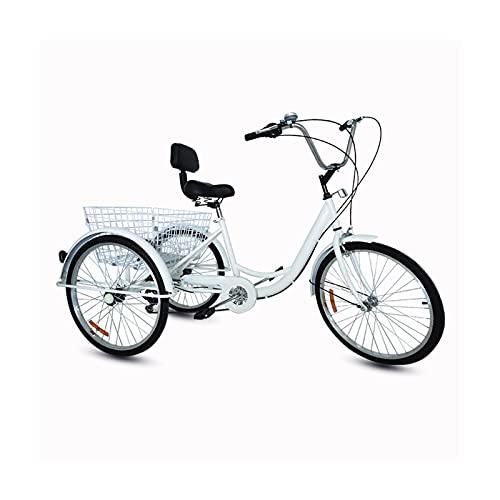 JPMGEW, triciclo per adulti, 7 marce, triciclo da crociera, con cestino per la spesa, adatto per lo shopping e il tempo libero per anziani, donne e uomini
