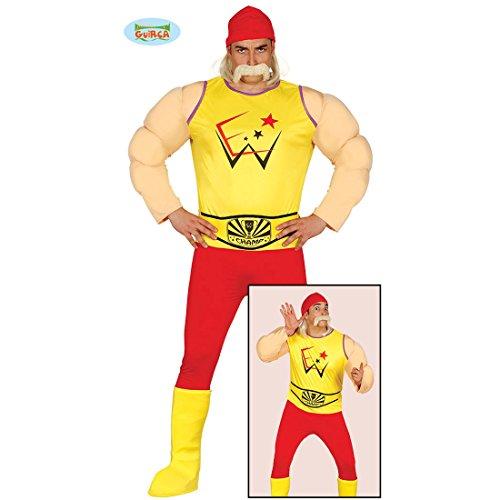 NET TOYS Disfraz Luchador - L (ES 52/54)   Traje Musculoso Luchador   Disfraz Hulk Hogan   Traje Hombres Artes Marciales