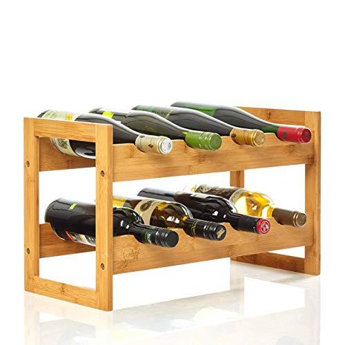 bambuswald© Weinregal für 8 Flaschen aus 100{90aad96b3bd33672f09af1a81a397266b7396c219e7e85ab5bbb999655899713} nachhaltigem Bambus | Etagen Flaschenregal Weinschrank Weinhalter Weinablage
