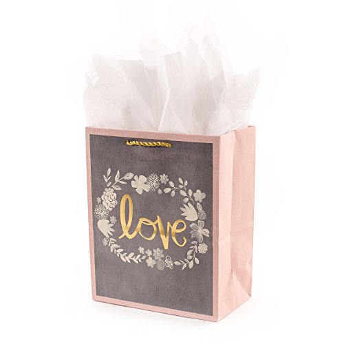 Hallmark 9' Medium Gift Bag with Tissue Paper (Gray, Pink, Gold Love) for Weddings, Bridal Showers, Engagements and More