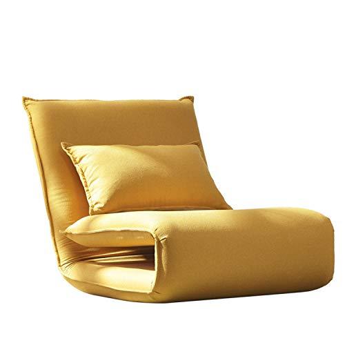 MMGN 2-in-1 Einzelklapp Futon Stuhl, Einzelschlaf Folding Chair Sleeper Schlafsofa Lounge Couch, for Haus Schlafzimmer Wohnzimmer Büro (Color : Yellow)