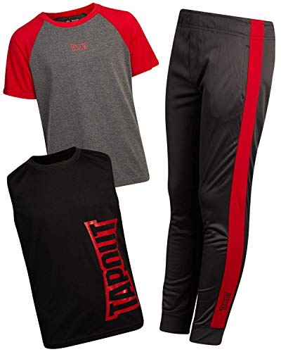 TapouT Boys' Active Tracksuit Set - Short Sleeve T-Shirt, Tank Top, and Jogger Sweatpants, Red/Charcoal/Black, Size 10