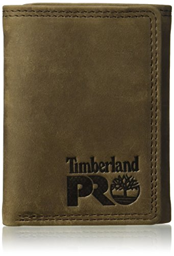 Timberland PRO Men's Leather Trifold Wallet with ID Window, Dark Brown/Pullman
