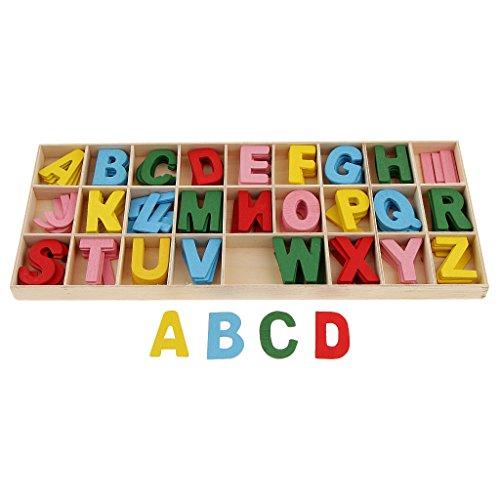 oshhni 156x Letras del Alfabeto Inglés de Madera con Caja Juegos de Aprendizaje para Niños