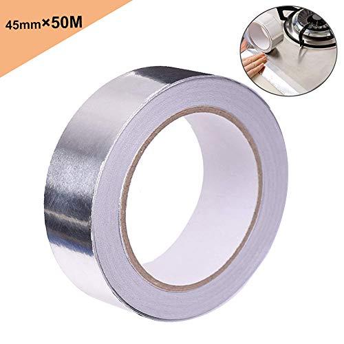 FULARRR 50M X 45mm プレミアム 導電性アルミ箔テープ、アルミ箔粘着ダクトテープ、導電性アルミテープ 静電気除去、多機能 金属テープ、 耐熱性 アルミ箔 ダクトやコンテナ等の補修に(1ロール)