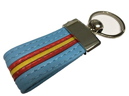 YOJAN PIEL | Llavero de Cuero Bandera de España Diseño y Calidad con Cuero Artesano (Azul) | para Mantener Las Llaves Juntas | Llavero Colgante de Metal y Cuero