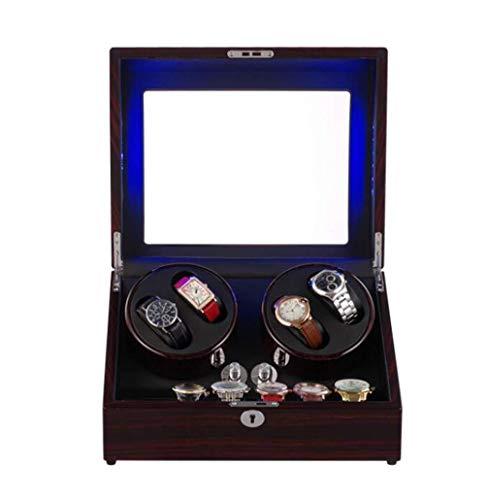 cajas de cartón para embalar Bobinador automático de madera del reloj, con la luz del LCD, caja de bobina automática de cinco velocidades de la devanadera del reloj Caja del cartón del embalaje