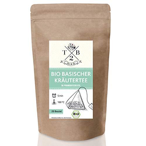 Basischer Kräutertee im Pyramiden Teebeutel – Bio-Qualität – zur basischen Ernährung mit Brennnessel, 20 Beutel – Tea2Be by Sarenius