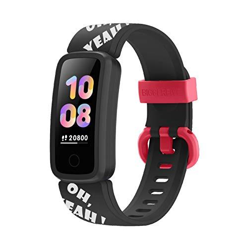 BIGGERFIVE Fitness Armband Uhr für Kinder Mädchen Junge, Fitness Tracker Smartwatch mit Schrittzähler Pulsuhr Kalorienzähler und Schlafmonitor, IP68 Wasserdicht Aktivitätstracker mit Vibration Wecker