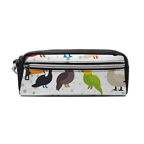 Naadloos Patroon Leuke Cartoon Vogels Set Gannet PU Lederen Potlood Case Make-up Tas Cosmetische Tas Potlood Tas met Rits Reizen Toilettas voor Vrouwen Meisjes