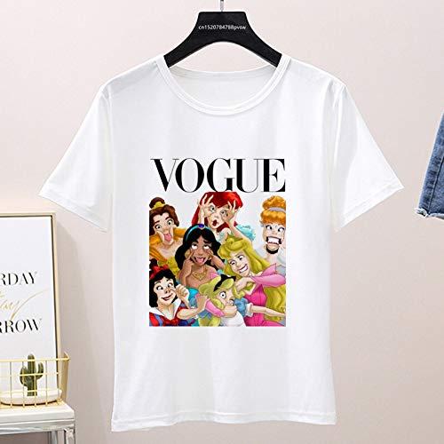 XiXi Gráfico de Verano Las Mujeres Camiseta, Mujer Divertido Vogue Camiseta, Tapas de Corea (Color : P1002 18 White, Size : M)