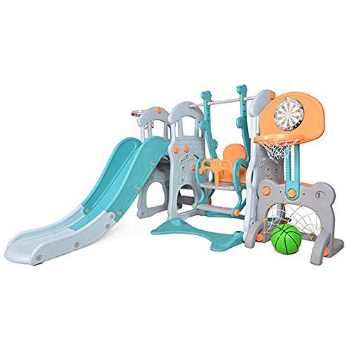 MYRCLMY Tobogán interior de los niños, columpio de baloncesto de fútbol, escalada multifuncional bebé diapositiva combinación de jardín de infantes juguetes pequeños columpios