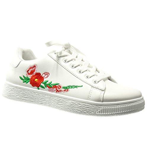Angkorly - Damen Schuhe Sneaker - Low - Fantasy - Bestickt - Fertig Steppnähte Flache Ferse 0 cm - Weiß RW735 T 38