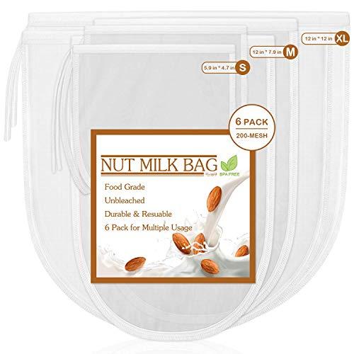 6 Pack Nut Milk Bag, Fancymay Reusable Food Strainer for Almond/Soy Milk, Greek Yogurt, Cheesecloth Bag Yogurt Strainer, Juice Filter, Cold Brew Coffee Tea, Milk Filters, 200 Mesh/Inch Ultra Fine Mesh