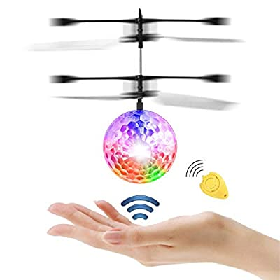 JAMSWALL RC Flying Ball, RC Toy with Remote Control Crystal ball Teenagers Toys Mini drone Toy with colorful LED Flashing Light Fun Gadgets for Boys Girls Kids Adults Outdoor Garden Games