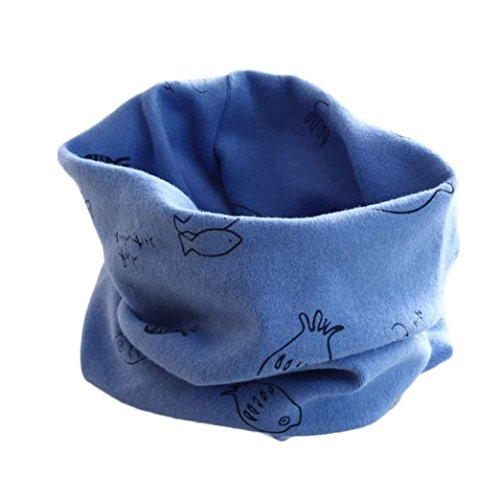 RETUROM Bebé pañuelos de cuello, cuello del algodón del bebé unisex de la bufanda del ringneck pájaro del invierno del otoño de impresión (Azul)