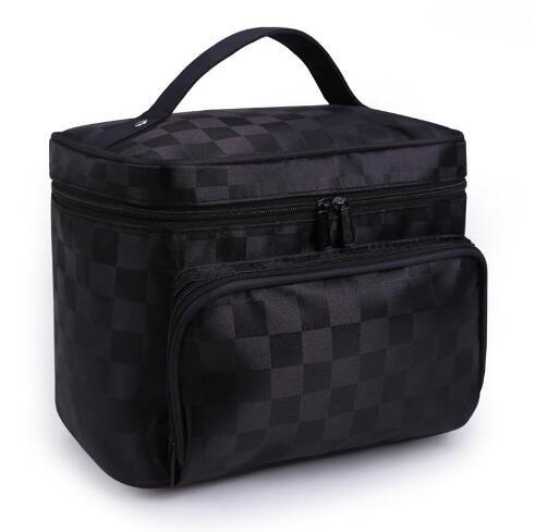 Woman Cosmetic Bags Square Striped Organizer Makeup Bag Travel Toiletry Bag Large Capacity Storage Beauty Bag ZL900 Squareblack