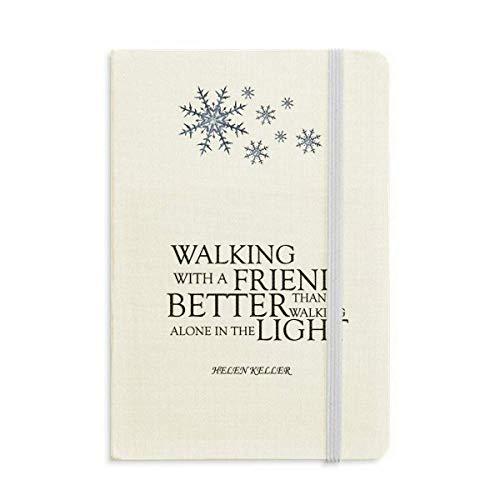 Helen Keller Notizbuch mit Zitat über Freundschaft und Schneeflocken im Winter