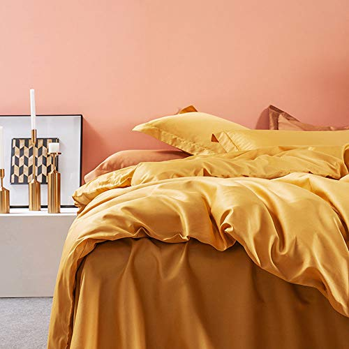 SOULFUL Duvet Cover Set, 100% Long Staple Cotton, Mustard Yellow Luxury Bedding Modern Design Ultra Soft, Zipper Closure & Corner Ties, 1 Quilt Cover & 2 Oxford Style Pillowcases, Double Size