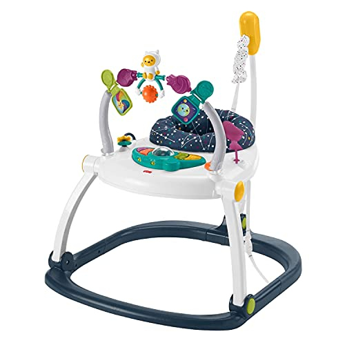 Fisher-Price Astro Kitty SpaceSaver Jumperoo, Space-Themed Infant Activity Center with Adjustable Bouncing seat, Lights, Music and Interactive Toys