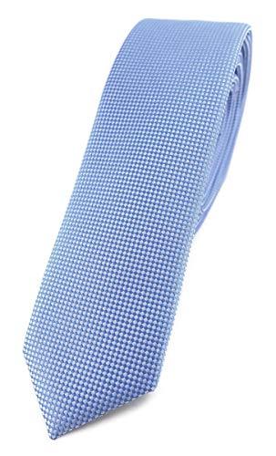 TigerTie Modische schmale Designer Krawatte in hellblau fein gepunktet