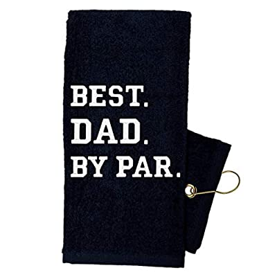 Golf Towel Store - Funny Golf Towels for Men, 100% Cotton 16 x 24 Tri-fold Black Golf Towel with Clip, Embroidered Golf Towels for Golf Bags with Clip (Best Dad by Par)