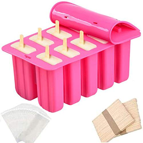 Waybesty 10 Cavities Homemade Popsicle Molds Shapes, Food Grade Silicone Frozen Ice Popsicle Maker-BPA Free, Contain 100 Popsicle Sticks, 100 Popsicle Bags and Funnel (10 Cavities, Pink)